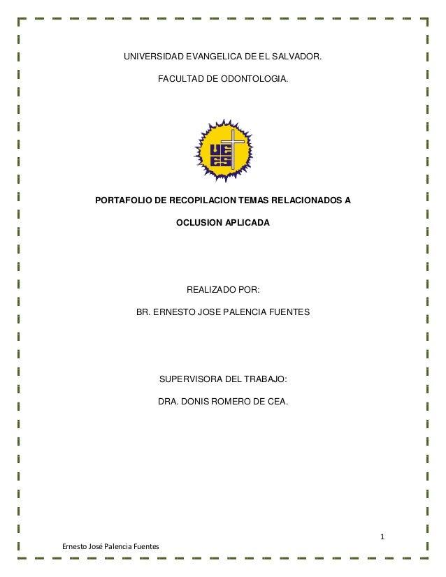 Portafolio de la asignatura oclusion aplicada ciclo II uees