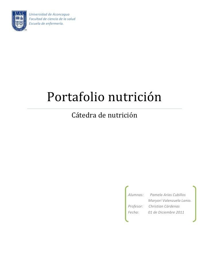 Universidad de AconcaguaFacultad de ciencia de la saludEscuela de enfermería.            Portafolio nutrición             ...