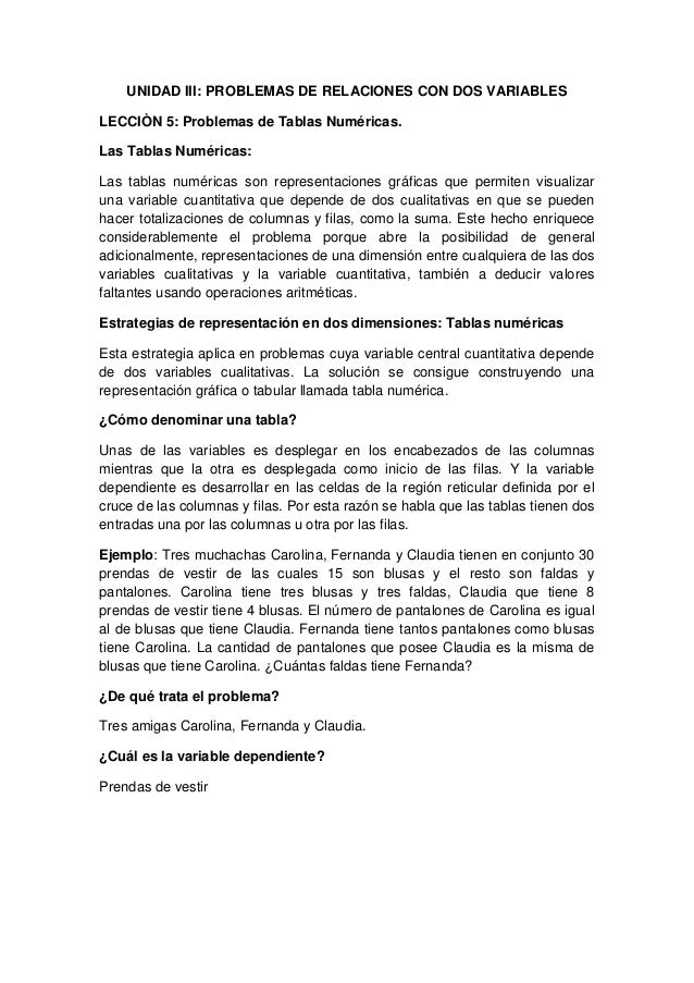 UNIDAD III: PROBLEMAS DE RELACIONES CON DOS VARIABLESLECCIÒN 5: Problemas de Tablas Numéricas.Las Tablas Numéricas:Las tab...