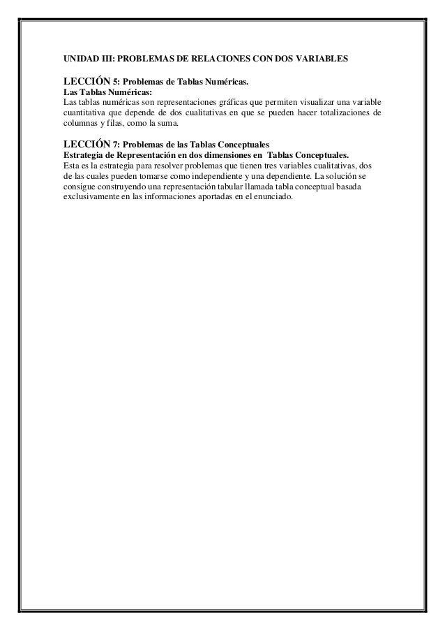 UNIDAD III: PROBLEMAS DE RELACIONES CON DOS VARIABLES  LECCIÓN 5: Problemas de Tablas Numéricas. Las Tablas Numéricas: Las...