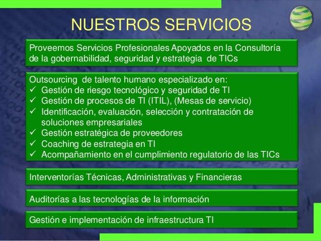 NUESTROS SERVICIOS Proveemos Servicios Profesionales Apoyados en la Consultoría de la gobernabilidad, seguridad y estrateg...