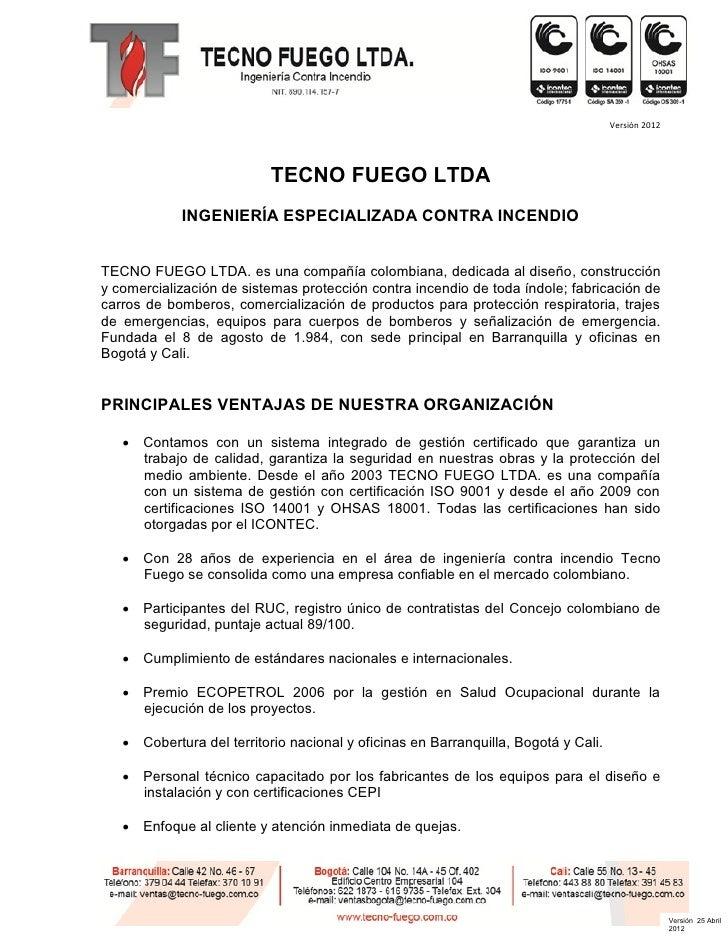TECNO FUEGO Portafolio de servicios 2012
