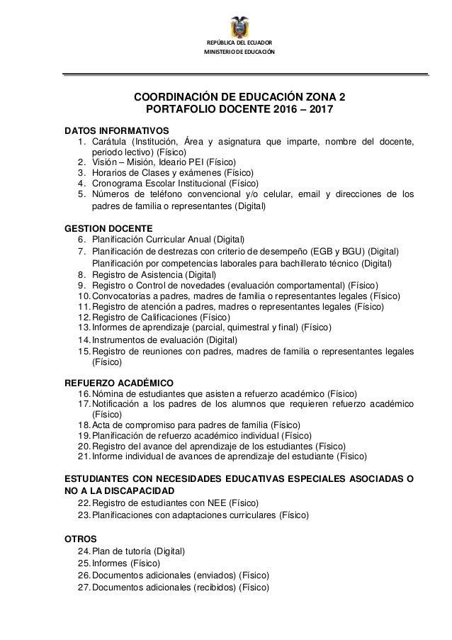 Portafolio docente 2016 2017 for Convocatoria docentes 2016 ministerio de educacion