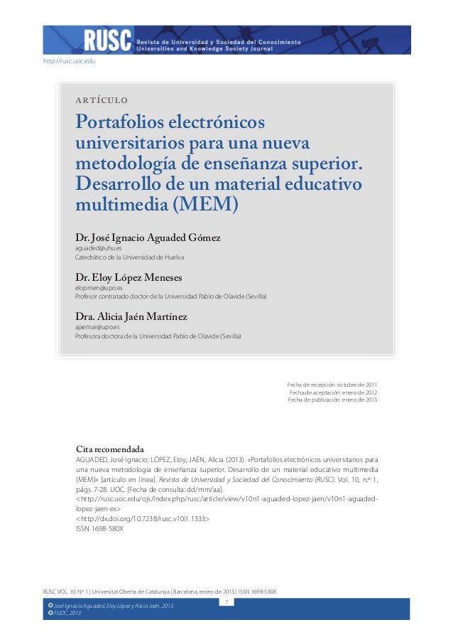 http://rusc.uoc.eduJosé Ignacio Aguaded, Eloy López y Alicia Jaén, 2013FUOC, 2013CCCCRUSC VOL. 10 N.º 1 | Universitat Obe...