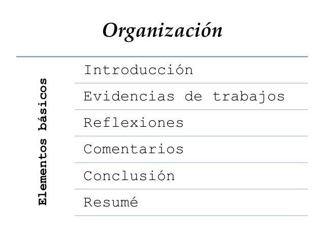 Organización Introducción Evidencias de trabajos Reflexiones Comentarios Conclusión Resumé Elementosbásicos