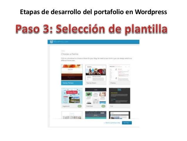 Etapas de desarrollo del portafolio en Wordpress