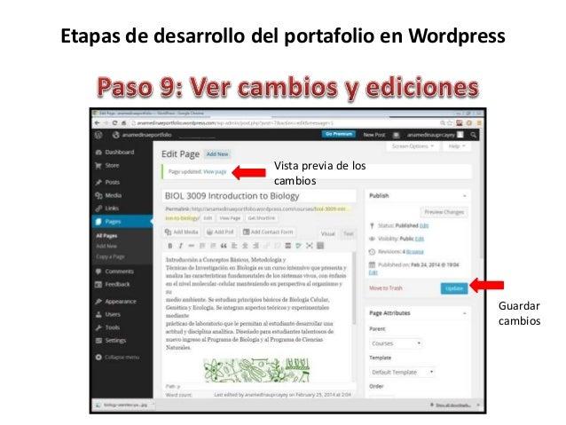 Etapas de desarrollo del portafolio en Wordpress Guardar cambios Cargar archivos o enlaces procedentes de las redes social...