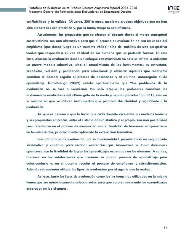 14 Portafolio de Evidencias de mi Práctica Docente Asignatura Español 2014-2015 Programa General de Formación para Evaluad...