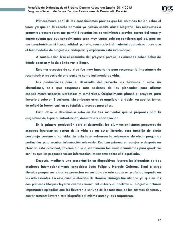 17 Portafolio de Evidencias de mi Práctica Docente Asignatura Español 2014-2015 Programa General de Formación para Evaluad...