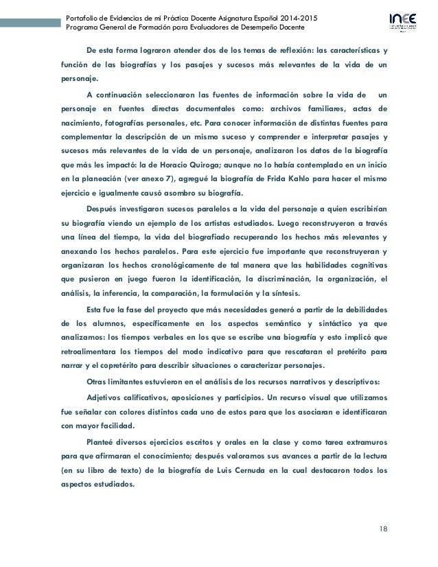18 Portafolio de Evidencias de mi Práctica Docente Asignatura Español 2014-2015 Programa General de Formación para Evaluad...