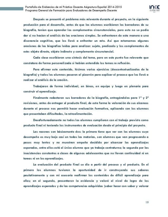 19 Portafolio de Evidencias de mi Práctica Docente Asignatura Español 2014-2015 Programa General de Formación para Evaluad...