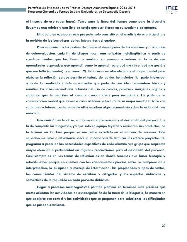 20 Portafolio de Evidencias de mi Práctica Docente Asignatura Español 2014-2015 Programa General de Formación para Evaluad...