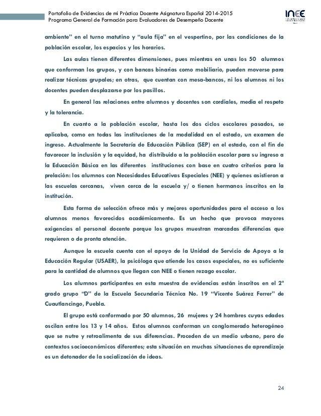 24 Portafolio de Evidencias de mi Práctica Docente Asignatura Español 2014-2015 Programa General de Formación para Evaluad...