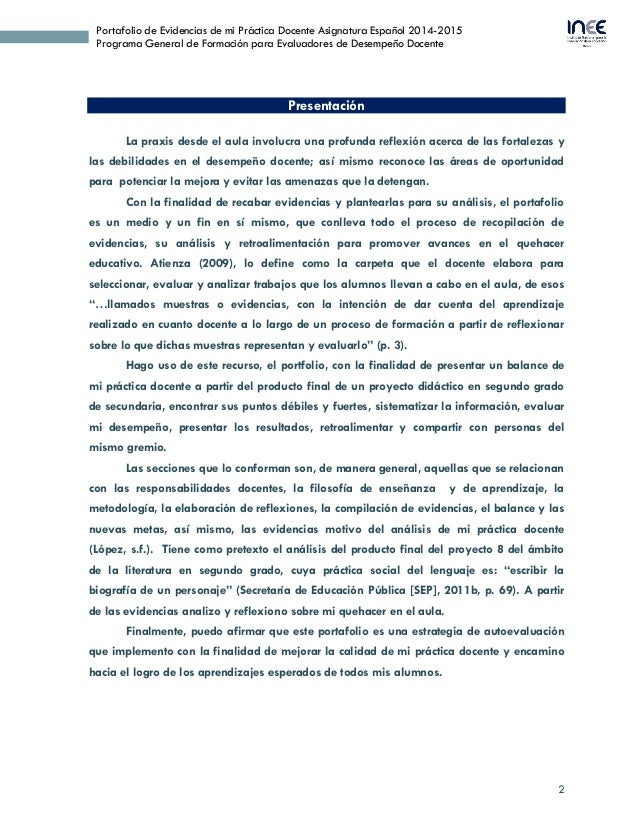 2 Portafolio de Evidencias de mi Práctica Docente Asignatura Español 2014-2015 Programa General de Formación para Evaluado...