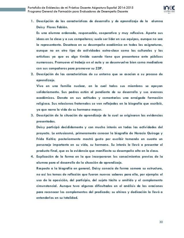 30 Portafolio de Evidencias de mi Práctica Docente Asignatura Español 2014-2015 Programa General de Formación para Evaluad...