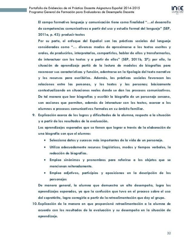 32 Portafolio de Evidencias de mi Práctica Docente Asignatura Español 2014-2015 Programa General de Formación para Evaluad...