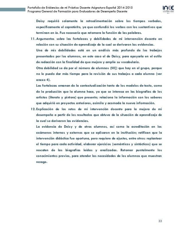 33 Portafolio de Evidencias de mi Práctica Docente Asignatura Español 2014-2015 Programa General de Formación para Evaluad...