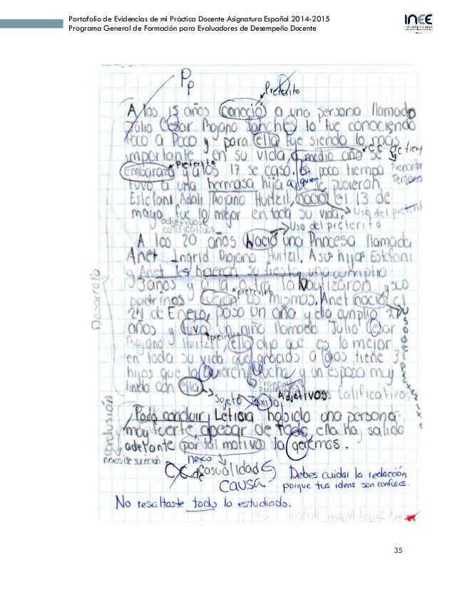 35 Portafolio de Evidencias de mi Práctica Docente Asignatura Español 2014-2015 Programa General de Formación para Evaluad...