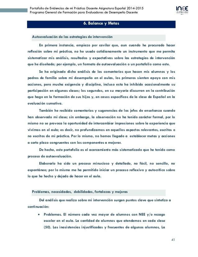 41 Portafolio de Evidencias de mi Práctica Docente Asignatura Español 2014-2015 Programa General de Formación para Evaluad...