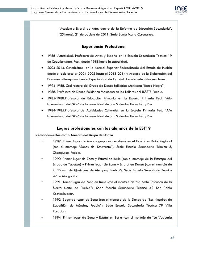 48 Portafolio de Evidencias de mi Práctica Docente Asignatura Español 2014-2015 Programa General de Formación para Evaluad...