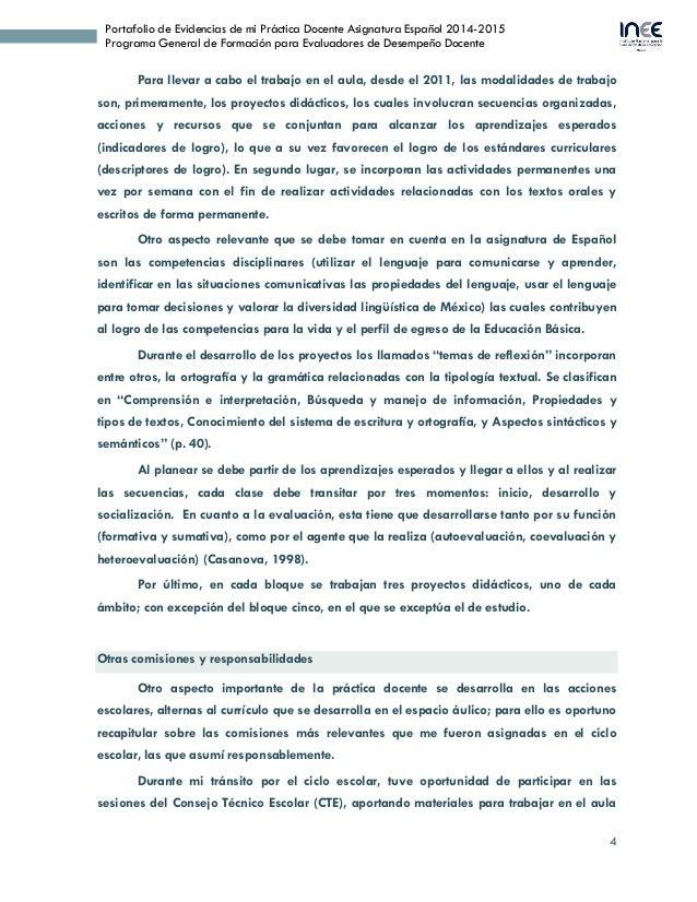 4 Portafolio de Evidencias de mi Práctica Docente Asignatura Español 2014-2015 Programa General de Formación para Evaluado...