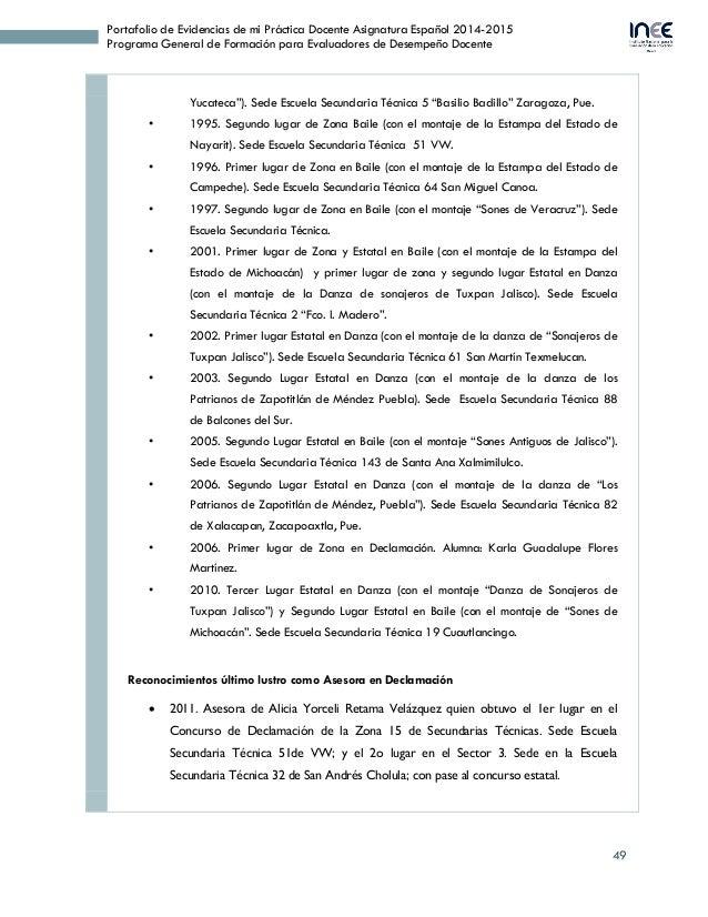 49 Portafolio de Evidencias de mi Práctica Docente Asignatura Español 2014-2015 Programa General de Formación para Evaluad...