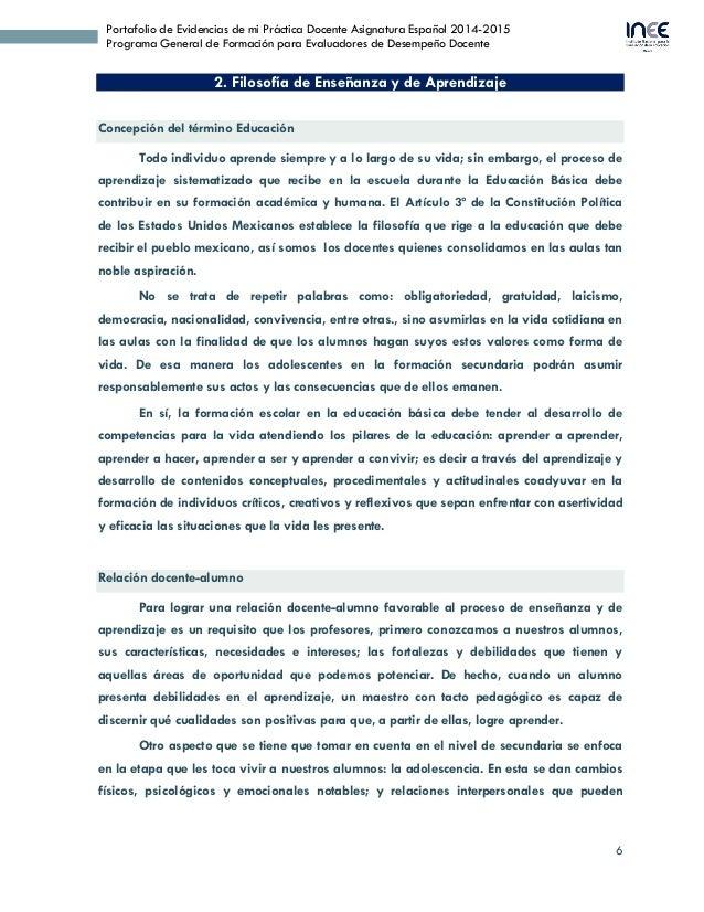 6 Portafolio de Evidencias de mi Práctica Docente Asignatura Español 2014-2015 Programa General de Formación para Evaluado...