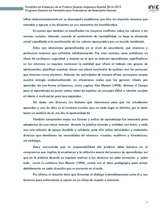 7 Portafolio de Evidencias de mi Práctica Docente Asignatura Español 2014-2015 Programa General de Formación para Evaluado...