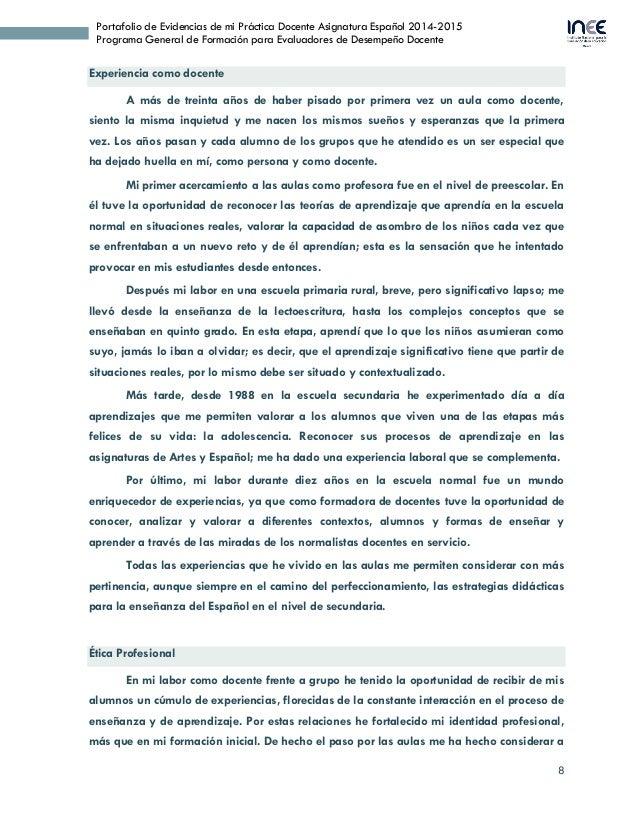 8 Portafolio de Evidencias de mi Práctica Docente Asignatura Español 2014-2015 Programa General de Formación para Evaluado...