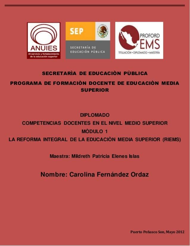 DIPLOMADO COMPETENCIAS DOCENTES EN EL NIVEL MEDIO SUPERIOR MODULO 1  1  SECRETARÌA DE EDUCACIÒN PÙBLICA  PROGRAMA DE FORMA...