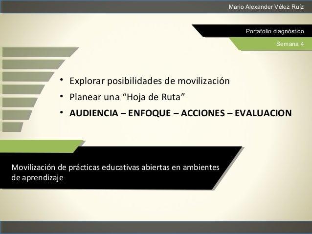 Mario Alexander Vélez Ruíz Portafolio diagnóstico Semana 4 Movilización de prácticas educativas abiertas en ambientes de a...