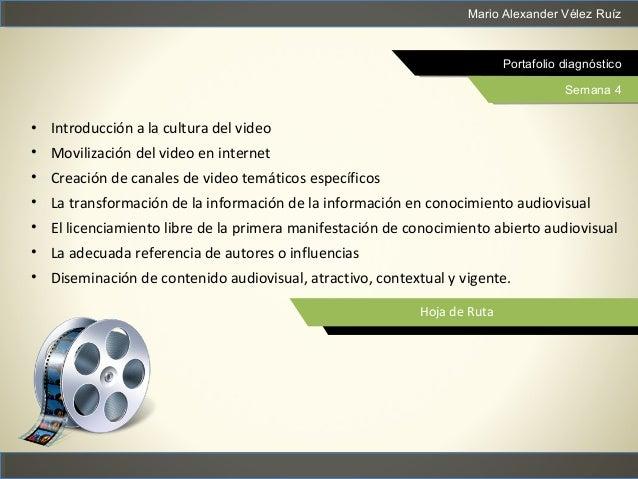Mario Alexander Vélez Ruíz Portafolio diagnóstico Semana 4 Hoja de Ruta • Introducción a la cultura del video • Movilizaci...
