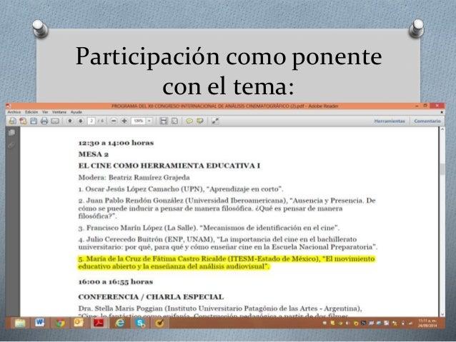 Participación como ponente  con el tema: