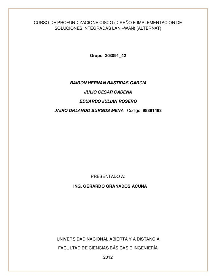 CURSO DE PROFUNDIZACIONE CISCO (DISEÑO E IMPLEMENTACION DE       SOLUCIONES INTEGRADAS LAN –WAN) (ALTERNAT)               ...