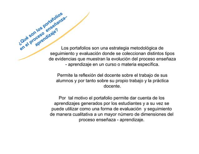 Los portafolios son una estrategia metodológica de  seguimiento y evaluación donde se coleccionan distintos tipos  de evid...