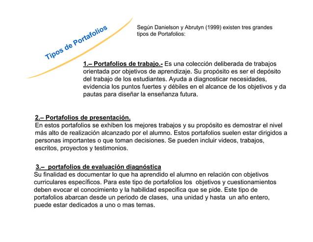 Tipos de Portafolios  Según Danielson y Abrutyn (1999) existen tres grandes  tipos de Portafolios:  1.– Portafolios de tra...