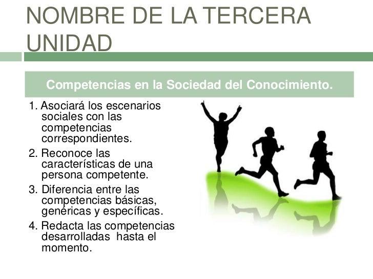 NOMBRE DE LA TERCERAUNIDAD   Competencias en la Sociedad del Conocimiento.1. Asociará los escenarios   sociales con las   ...