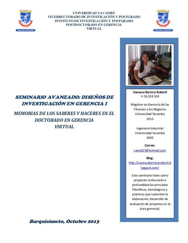 UNIVERSIDAD YACAMBÚ VICERRECTORADO DE INVESTIGACIÓN Y POSTGRADO INSTITUTO DE INVESTIGACIÓN Y POSTGRADO POSTDOCTORADO EN GE...