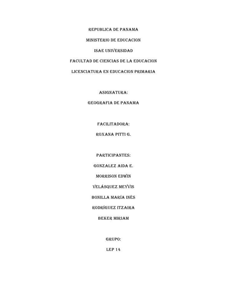 REPUBLICA DE PANAMA      MINISTERIO DE EDUCACION          ISAE UNIVERSIDADFACULTAD DE CIENCIAS DE LA EDUCACIONLICENCIATURA...