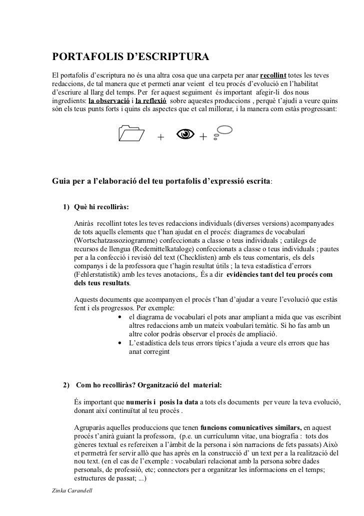 Portafolis schreiben zinka Carandell