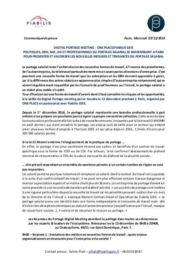 Contact presse : Sylvie Ifrah – sifrah@fiabilisgeie.fr – 06 03 03 90 87 Communiquédepresse Paris, Mercredi 07/12/2016 DIGI...