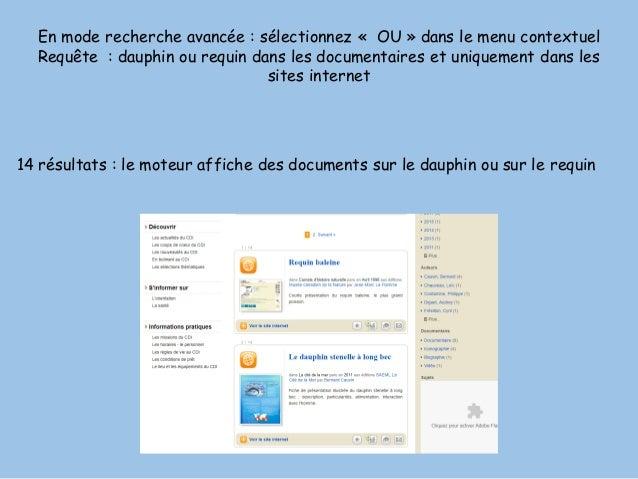 En mode recherche avancée : sélectionnez « OU » dans le menu contextuel Requête : dauphin ou requin dans les documentaires...