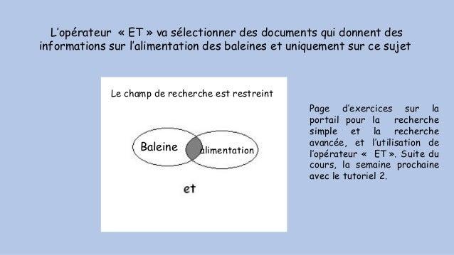 L'opérateur «ET» va sélectionner des documents qui donnent des informations sur l'alimentation des baleines et uniquemen...