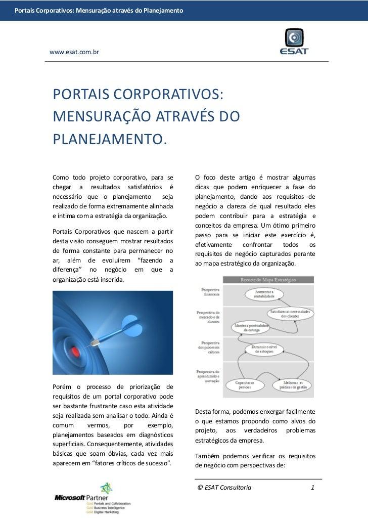 Portais Corporativos: Mensuração através do Planejamento           www.esat.com.br            PORTAIS CORPORATIVOS:       ...