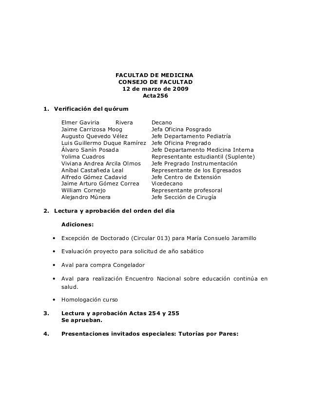 FACULTAD DE MEDICINA                            CONSEJO DE FACULTAD                             12 de marzo de 2009       ...