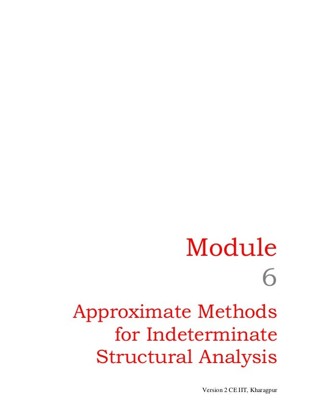 Module 6 Approximate Methods for Indeterminate Structural Analysis Version 2 CE IIT, Kharagpur