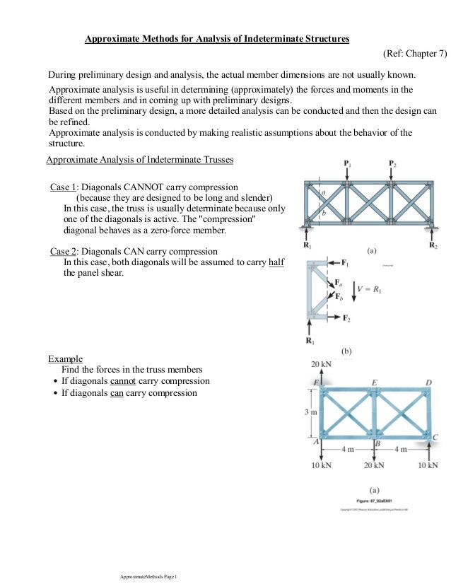 Approximate Methods for Analysis of Indeterminate Structures (Ref: Chapter 7) Approximate analysis is useful in determinin...