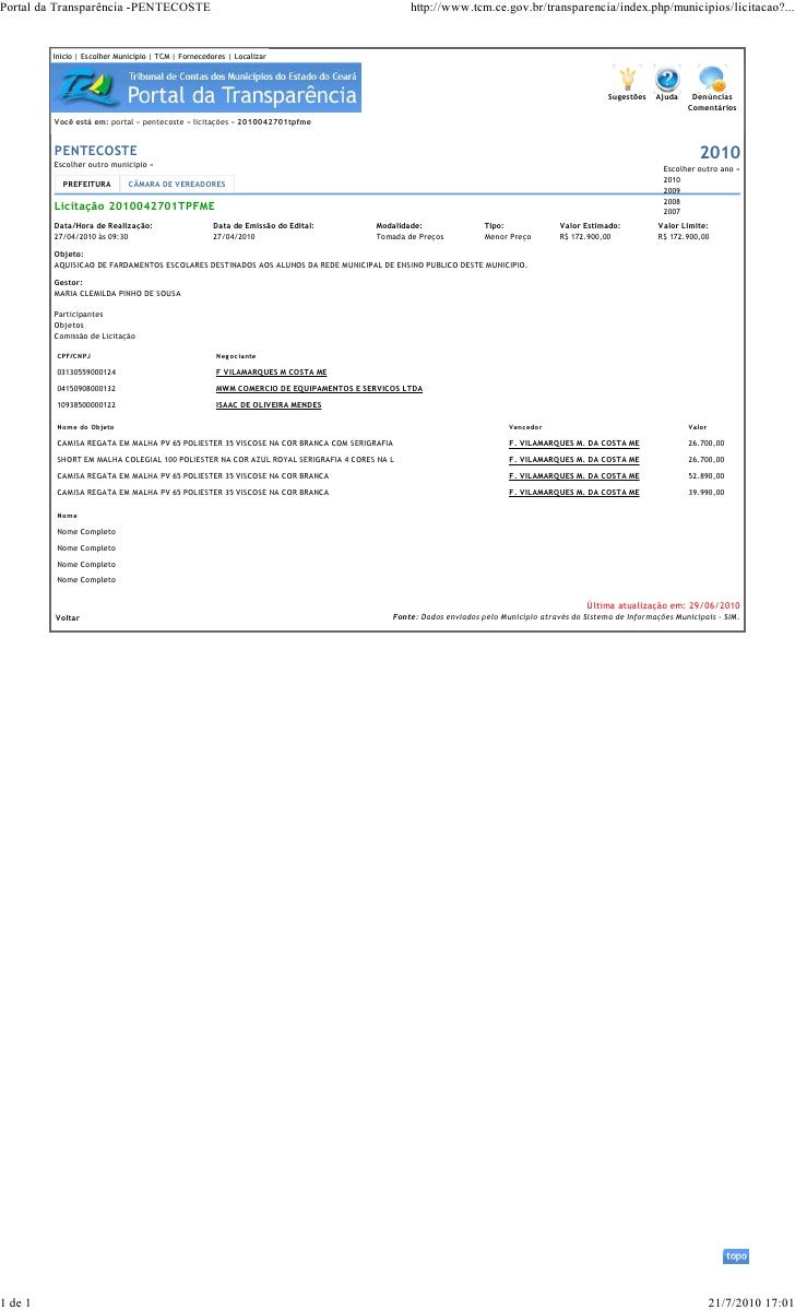 Portal da Transparência -PENTECOSTE                                                             http://www.tcm.ce.gov.br/t...