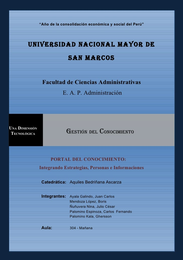 """""""Año de la consolidación económica y social del Perú""""             Universidad nacional Mayor de                           ..."""