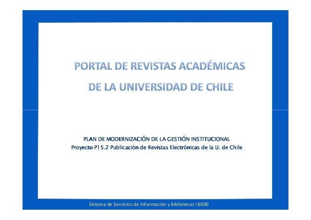 Sistema de Servicios de Información y Bibliotecas (SISIB) PLAN DE MODERNIZACIÓN DE LA GESTIÓN INSTITUCIONALPLAN DE MODERNI...
